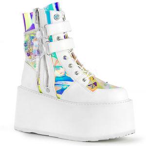 Shoes - Festival Platform Buckle Punk Lace-Up Ankle Boots